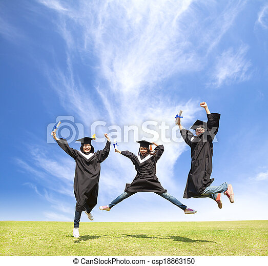 College students celebrate graduation and happy jump - csp18863150