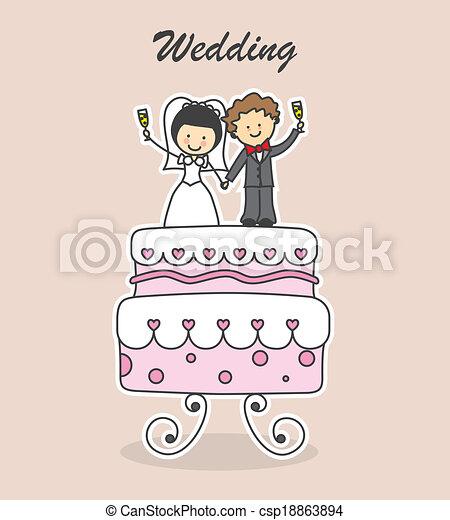 EPS vectores de boda, invitación - novios, en, pastel, boda ...