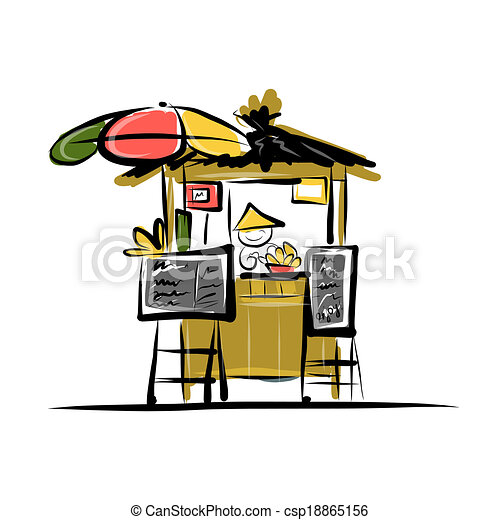 Asian retail seller on street market, sketch for your design - csp18865156