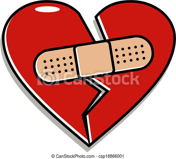Vector Clipart of broken heart with band-aid - red broken heart ...