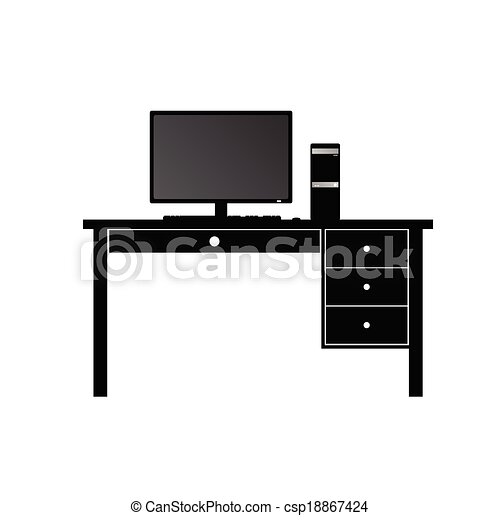 Vector - computer and desk for computer vector - stock illustration