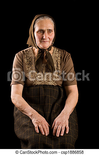 Old woman in sadness - csp1886858