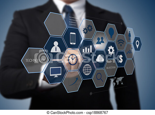 business man working with modern computer interface as information technology concept  - csp18868767