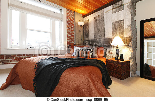 Modern bedroom with a broken concrete wall