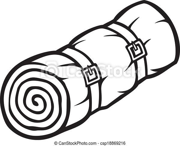 Vector Clip Art of sleeping bag (bed roll, camping ...