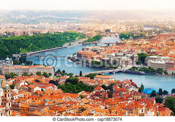 Vltava river and bridges in Prague - csp18873074