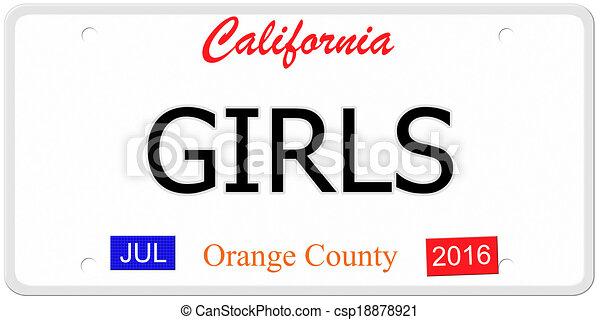 Clip Art of California Girls License Plate - An imitation ...