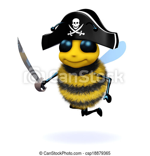 3d Bee pirate - csp18879365
