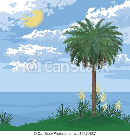 Island Flowers Drawings Tropical Island With Palm And