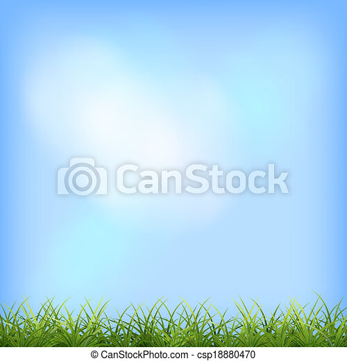 Green grass blue sky natural background - csp18880470