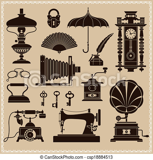 Vintage ephemera and retro objects - csp18884513