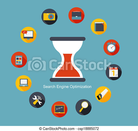 SEO - Search Engine Optimization Flat Icon Vector Illustration - csp18885072