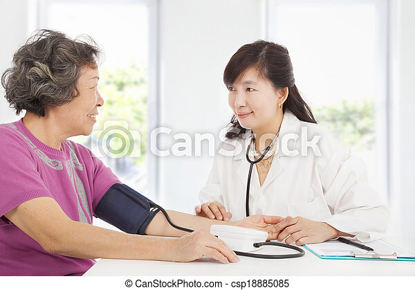 doctor measuring blood pressure of senior woman at home - csp18885085