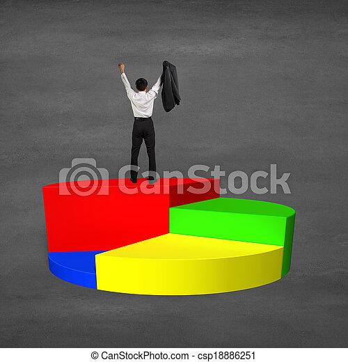 Man cheering on top of 3d pie chart - csp18886251