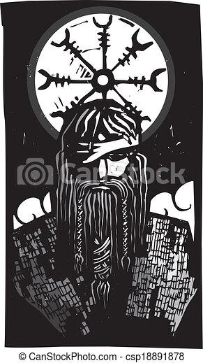 Illustrations vectoris es de roue dieu symbole nordique - Dieu nordique 4 lettres ...