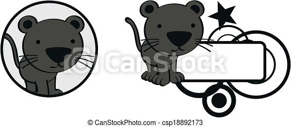 Panther Babies Playing Clip Art