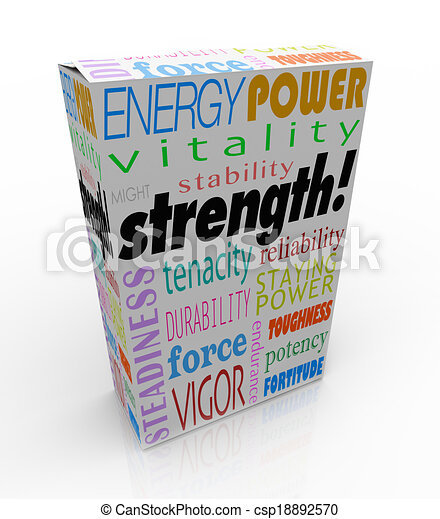 Strength word on a product package or box to illustrate the best choice with energy, power, might, stability, endurance and durability - csp18892570