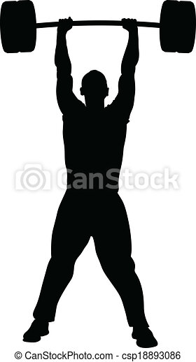 Vector of Weight Lifting Success - A silhouette of a man lifting ...