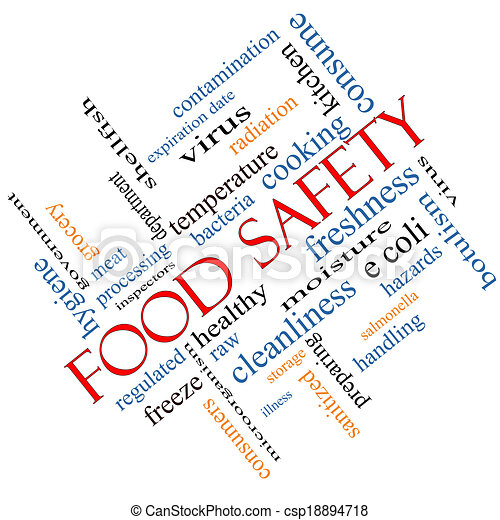 Clipart of Food Safety Word Cloud Concept Angled - Food ...