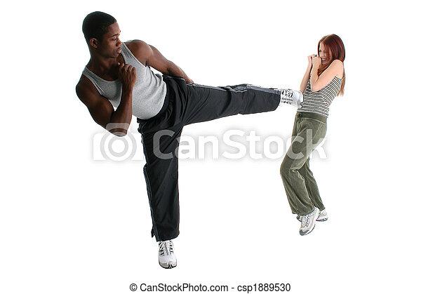 Attractive Interracial Couple Sparring - csp1889530
