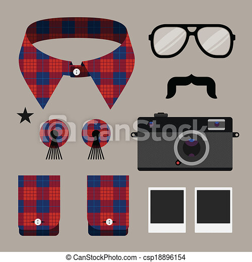 Set of fashion hipster design element - csp18896154