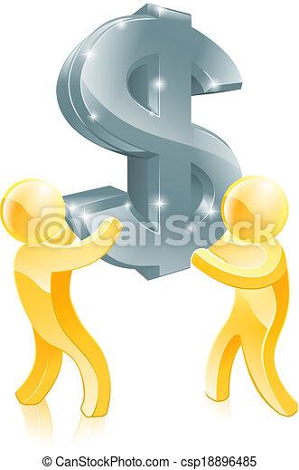 Dollar sign gold people - csp18896485
