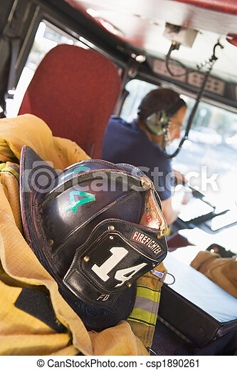 Firefighters travelling to an emergency - csp1890261