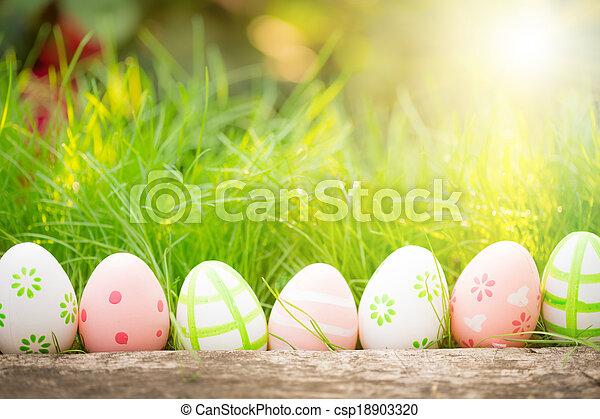 綠色, 蛋, 草, 復活節 - csp18903320
