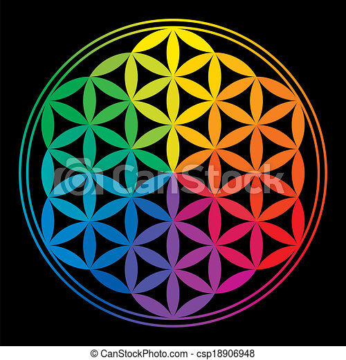 Multiple Flower Drawings Flower of Life Rainbow Colors