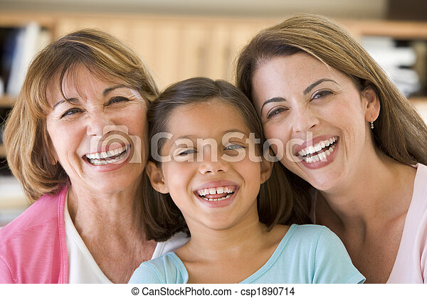 Grandmother with adult daughter and granddaughter - csp1890714