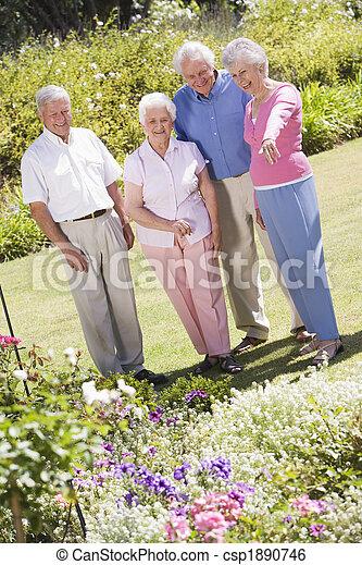 Group of senior friends in garden Group of senior friends in gar - csp1890746