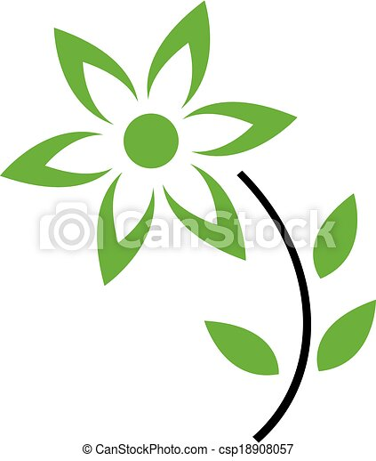 Clipart Vector of Flower with green leaves and petals- Logo ...