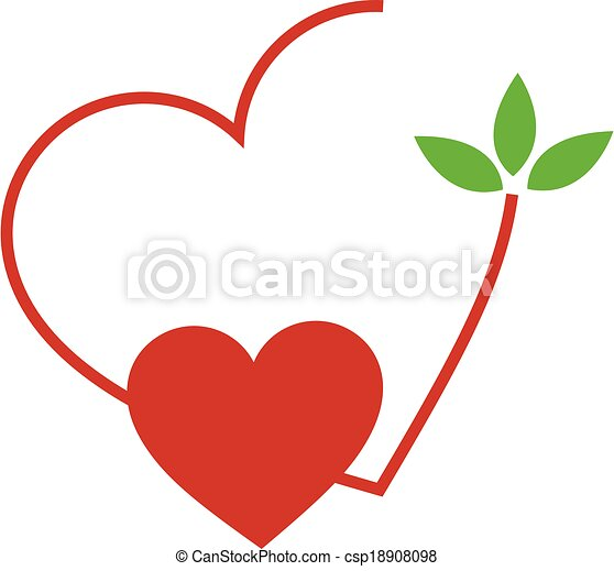 Hearts with leaves - csp18908098