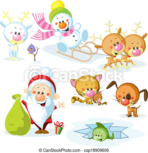Clipart of Santa Claus with snowman, cute Christmas animals - reindeer ...