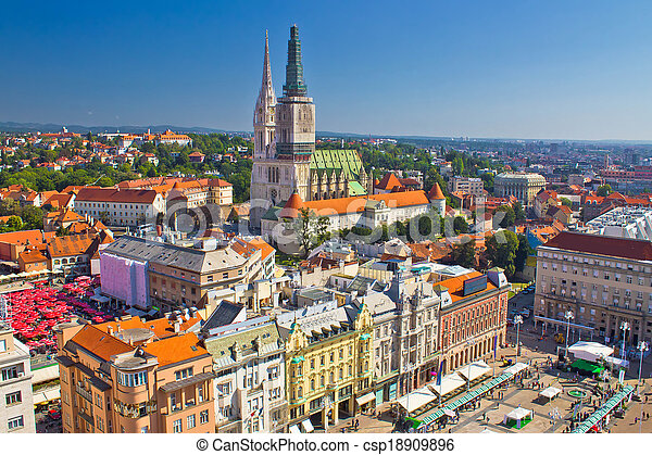 Zagreb main square and cathedral aerial view - csp18909896