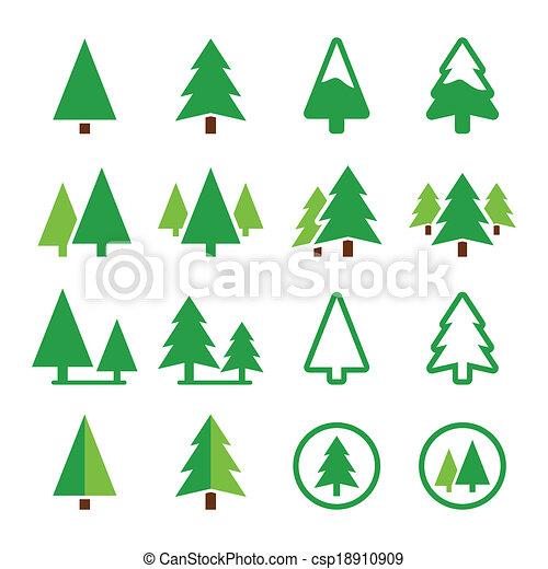 Vector Clip Art de iconos, parque, pino, árbol, vector, verde ... | {Pino logo 61}