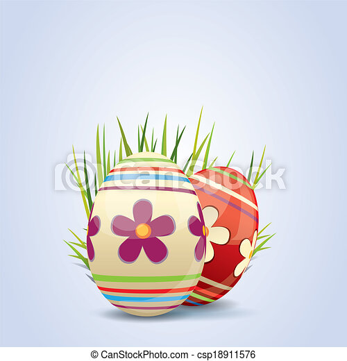 Colorful painted Easter eggs - csp18911576