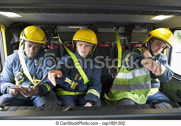 Firefighters on their way to an emergency scene - csp1891302
