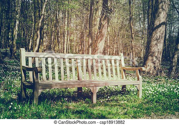 Wooden bench in spring park - csp18913882