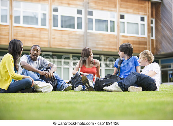 College students sitting and talking on campus lawn - csp1891428
