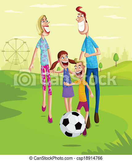 clip art vector of happy family in park happy family football player images clip art foot images clipart