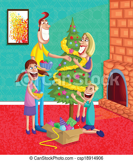 Vector Clipart of Happy family decorating Christmas Tree ...