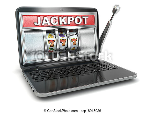 Jackpot. Online gambling concept. Laptop slot machine. - csp18918036