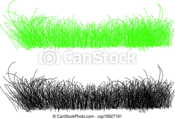 detailed illustration of thin strands of grass in green and blac - csp18927191