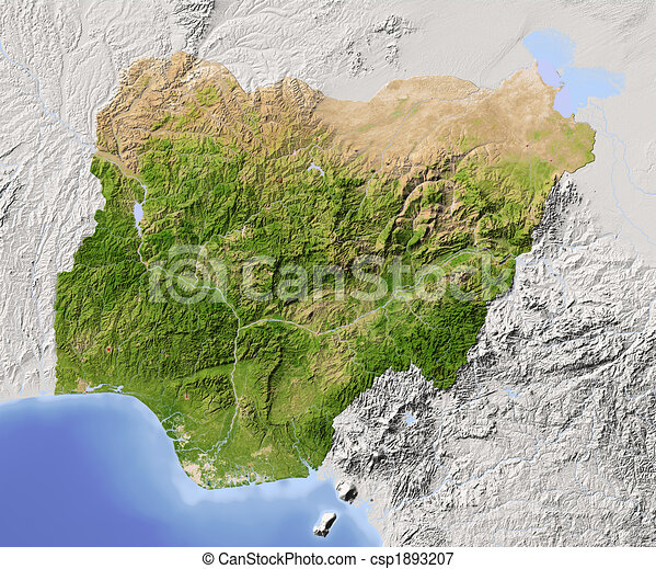 Nigeria, shaded relief map - csp1893207