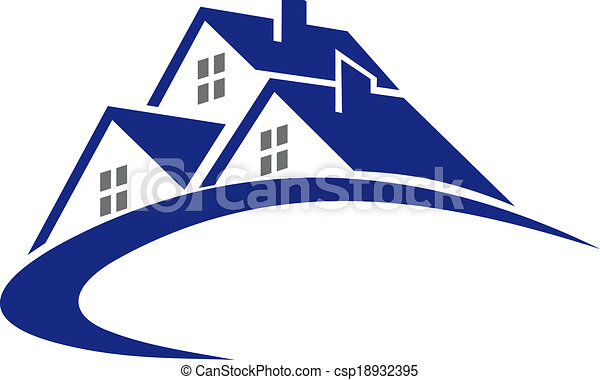 Eps vectors of modern cottage or house symbol for real for Modern house clipart