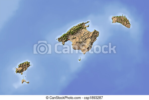 Balearic Islands, shaded relief map - csp1893287