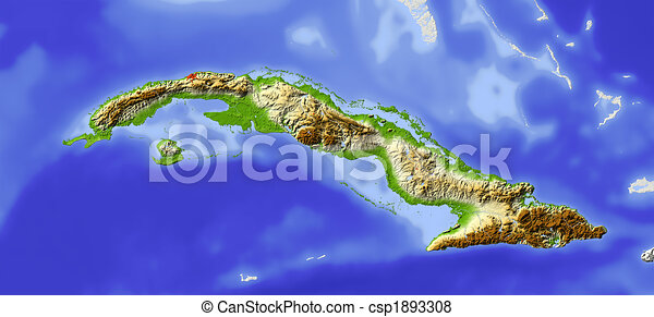 Cuba, shaded relief map - csp1893308