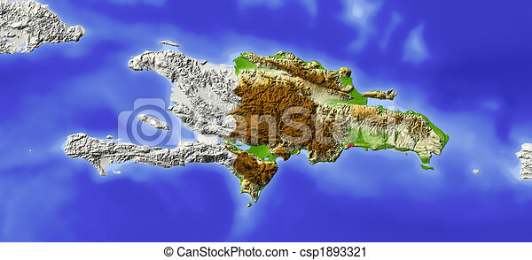 Dominican Republic, shaded relief map - csp1893321