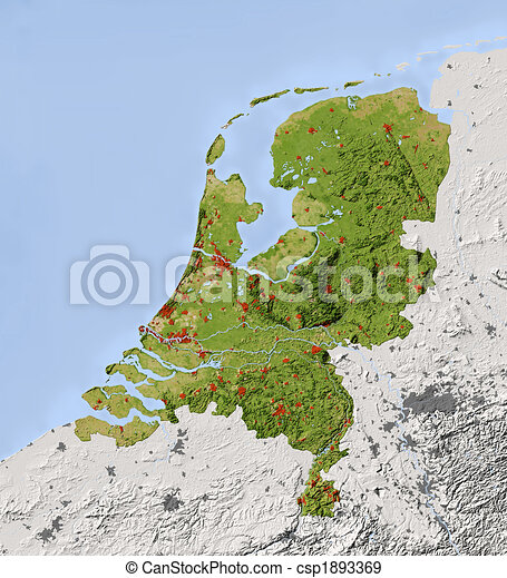 Netherlands, shaded relief map - csp1893369